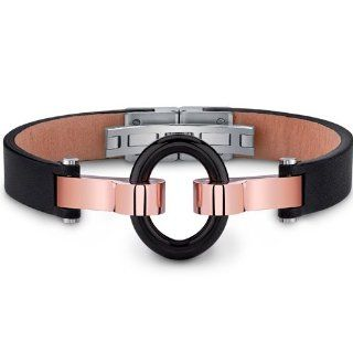 Mens Stainless Steel and Leather Bracelet with Black Ring Peora Jewelry