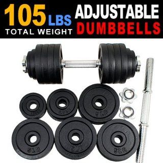 New one pair of 40 50 60 105 200 Lbs adjustable black paint cast Iron dumbbell kit with stainless steel handle (105 LB)  Sports & Outdoors