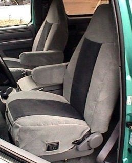 Exact Seat Covers, F119 V7/V1, 1992 1996 Ford Bronco Front High Back Buckets Custom Exact Fit Seat Covers, Gray and Black Velour Automotive