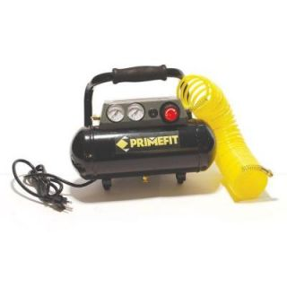 Primefit 125 PSI 1 Gal. Portable Air Compressor with Regulator and Control Panel 25 ft. Air Hose CM00301