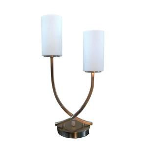 Fangio Lighting 20.5 in. 2 Light Brushed Nickel Table Lamp with Steel and Glass 1318