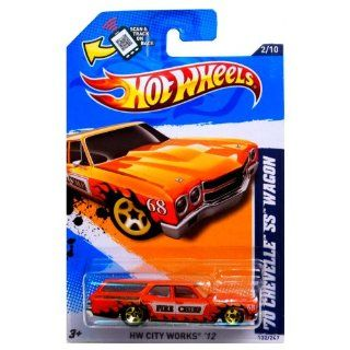 "Hot Wheels (Scan & Track Card)   '70 Chevelle SS Wagon (Orange ""Fire Chief"")   HW City Works 12   2/10 ~ 132/247 [Scale 164] Toys & Games"