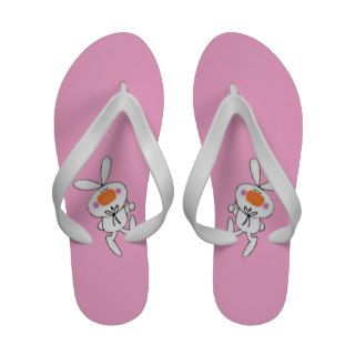 Happy Dancing Cute Cartoon White Rabbit Bunny Sandals