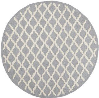 Safavieh CAM137D Cambridge Collection Handmade Wool Round Area Rug, 6 Feet, Silver and Ivory