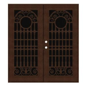 Unique Home Designs Spaniard 60 in. x 80 in. Copper Right Hand Surface Mount Aluminum Security Door with Black Perforated Aluminum Screen 1S2029JL2CCP5A