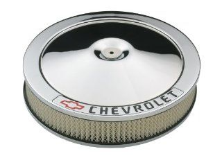 "Proform 141 906 Chrome 14"" Diameter Air Cleaner Kit with Black Chevrolet/Red Bowtie Logo and 3"" Paper Filter Automotive"