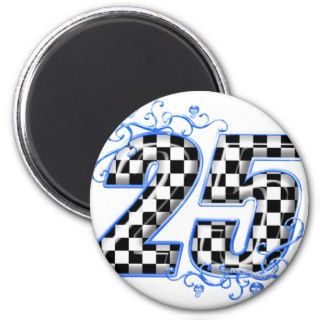 25 blue racing number fridge magnets