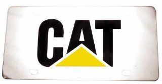 Caterpillar Logo Yellow & Black Stainless Steel Metal Front License Plate #490 Automotive