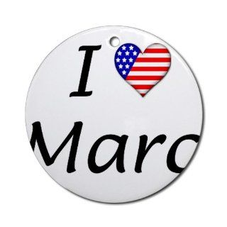 Military Backer I Heart Marc Ornament (Round)   Decorative Hanging Ornaments