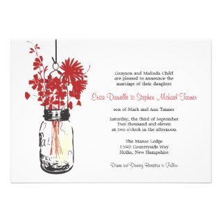Mason Jar & Wild Flowers Personalized Invitations