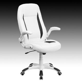 Super Soft White Leather Highback Office Desk Chairs with Flip up Arms #176H   Executive Chairs