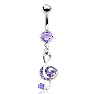 "316L Surgical Steel Multi Tanzanite(Purple) Colored Cubic Zirconia G Clef Music Note with Star Belly Ring, 14G (1.6mm), 3/8"" in Length  Sold Individually Jewelry"