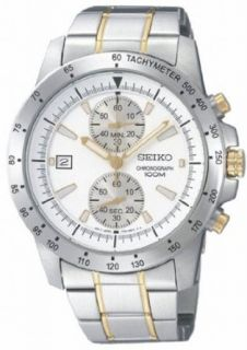 Mens Watch Seiko SNN189 Chronograph Chronograph Two Tone Stainless Steel Case an Clothing