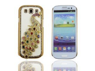 Colorful Handmade Bling Crystal Dimond 3D Peacock Hard PU Leather Case Cover For Samsung Galaxy S3 i9300 Cell Phones & Accessories