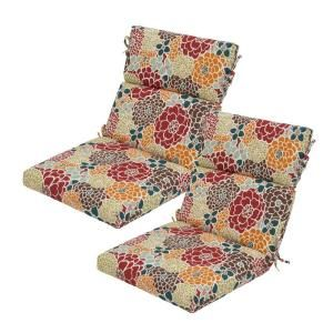Hampton Bay Lois Floral High Back Outdoor Chair Cushion (2 Pack) DISCONTINUED 7718 02000300