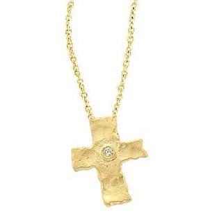 Meira T 14K Yellow Gold & Diamond Byzantine Style Cross Necklace   Hammered Gold Chain Necklaces Jewelry