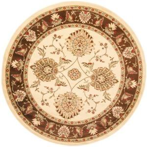 Safavieh Lyndhurst Ivory/Brown 5 ft. 3 in. x 5 ft. 3 in. Round Area Rug LNH555 1225 5R