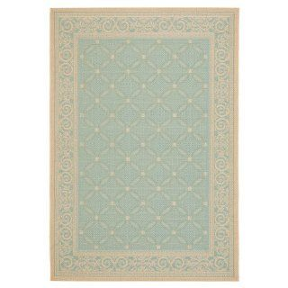 Safavieh CY6107 25 Courtyard Collection Indoor/Outdoor Area Rug, 5 Feet 3 Inch by 7 Feet 7 Inch, Aqua and Cream