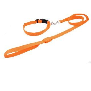 Orange LED Safety Flash Light Up Pet Cat Dog Collar Belt w Leash