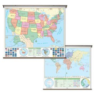 United States / World Map   Pull Down Roller Map with Wall Mount   Universal Map With Wall Mount