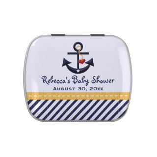 Yellow and Navy Nautical Anchor Baby Shower Favor Candy Tin