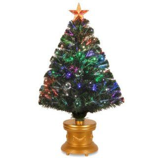 National Tree SZRX7 100R 36 1 Fiber Optic Radiance Firework Tree with Top Star and Gold and Gold Revolving LED Base, 36 Inch   Artificial Christmas Tree