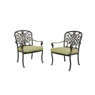 Hampton Bay Edington Patio Dining Chair with Celery Cushion (2 Pack) 141 034 DC2