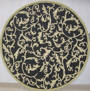 Safavieh HK307B 3R 3 ft. x 3 ft. Round, Transitional Chelsea Black Hand Hooked Rug