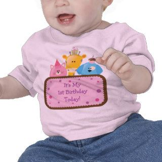 Cute Cartoon Birthday Animals Customizable Pink Tee Shirts