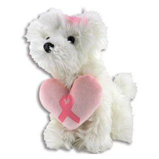 "9"" PINK RIBBON Heart Pillow Mitsy Dog in White/BREAST CANCER/HOPE/Plush"