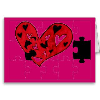 Missing puzzle piece to my heart greeting card