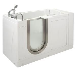 Ella Petite 4.33 ft. x 28 in. Acrylic Walk In Dual (Air & Hydro) Massage Walk In Bathtub in White with Left Drain/Door 93167
