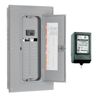 Square D by Schneider Electric Homeline 125 Amp 24 Space 24 Circuit Indoor Main Breaker Load Center with Cover with Surge Breaker SPD HOM24M125CSB