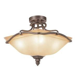 Filament Design Cabernet Collection 4 Light Antique Bronze Semi Flush Mount with Tea Stained Shade CLI WUP598224