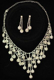 Jewlery for Wedding, Bridal Crystal Necklace & Earrings set  Wedding Ceremony Accessories