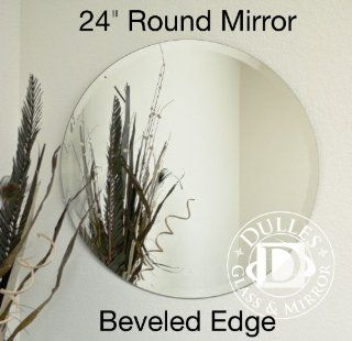 "Frameless Beveled Mirror Round Shape, 24"", 1/4"" Thick Glass Mirror with Hooks   Wall Mounted Mirrors"