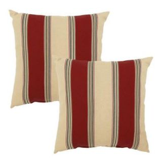 Hampton Bay Chili Stripe Outdoor Throw Pillow (2 Pack) 7050 02298000