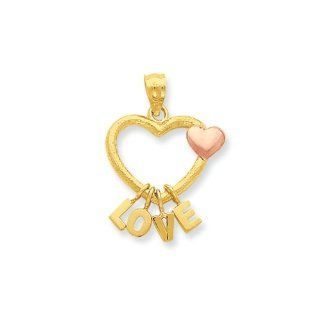 Dangling Love Heart Pendant in 14 Karat Two tone Gold Jewelry