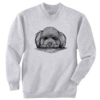 Poodle On Paws Dog Art Crewneck Sweatshirt Novelty Athletic Sweatshirts Clothing