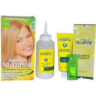 Garnier Nutrisse Nourishing Color Treatment with Fruit Oil Concentrates, Level 3 Permanent, Light Beige Blonde 92  Body Scrubs  Beauty