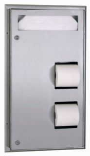 "Bobrick 347 ClassicSeries 304 Stainless Steel Partition Mounted Seat Cover and Toilet Tissue Dispenser, Satin Finish, 17 3/16"" Width x 30 5/8"" Height"
