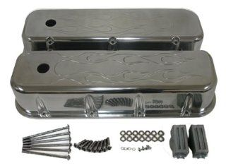 1965 95 Chevy Big Block 396 427 454 502 Tall Polished Aluminum Valve Covers   Flamed Automotive