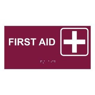 ADA First Aid Braille Sign RSME 350 SYM WHTonBRG Emergency Response  Business And Store Signs