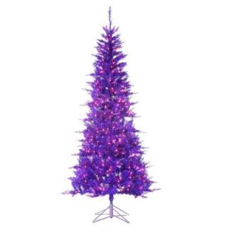 Sterling, Inc. 7.5 ft. Pre Lit Purple Tiffany Tinsel Artificial Christmas Tree with Purple Lights 6015 75PR