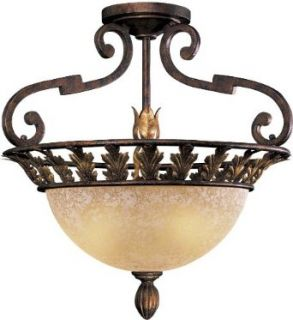 Metropolitan N6241 355 Three Light Semi Flush Ceiling Fixture from the Zaragoza Collection, Golden Bronze   Close To Ceiling Light Fixtures