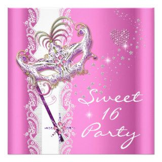 Masquerade Sweet Sixteen Sweet 16 Pink White Lace Custom Announcement