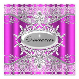Pink White Lace Quinceanera 15th Birthday Personalized Announcement