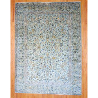 Persian Hand knotted Kashan Light Green/ Navy Wool Rug (9'10 x 13'9) 7x9   10x14 Rugs