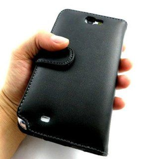 Likeeb Wallet Genuine Real Leather Case Cover for Samsung Galaxy Note 2 N7100 Black Cell Phones & Accessories