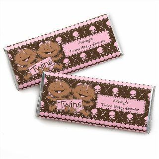 Twin Modern Baby Girls African American   Personalized Baby Shower Candy Bar Wrapper Favors Toys & Games